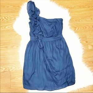 Miss Me Couture Blue One Shoulder Ruffle Dress S